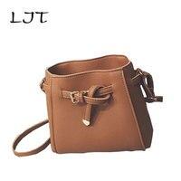 LJT 2017 Autumn Fashion Retro Bucket Bag Simple Personalitized Handbags Mini Shoulder Crossbody Bag Women Messenger Bags