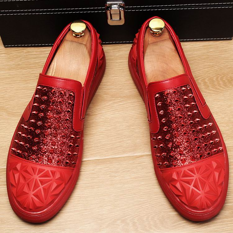 Mode Casual Bling Chic Chaussures De Rivets Homme Sur Confort Mocassins Mâle Luxe Glitter Slip rouge Noir Rouge Avant Errfc Tendance Hommes xoWCerQdB
