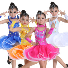 Latin dance skirt childrens costumes girls tassel sequins competition clothing clothes performance