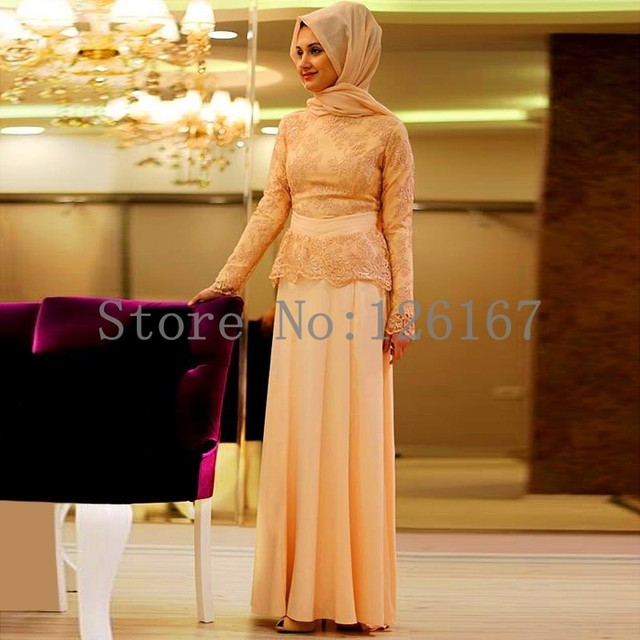 Champagne Formal Lace Long Sleeve Muslim Evening Dress Hijab Turkish Dubai  Islamic Clothing Prom Gowns Party Dresses CGE416 51e205f6444b