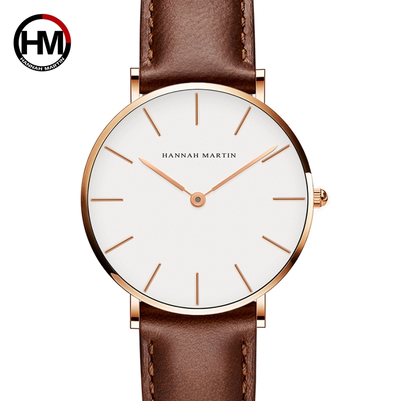 Hannah Martin Leather Design Retro Women Analog Alloy Quartz Wrist Watch Women's Watches Ladies bracelet watch