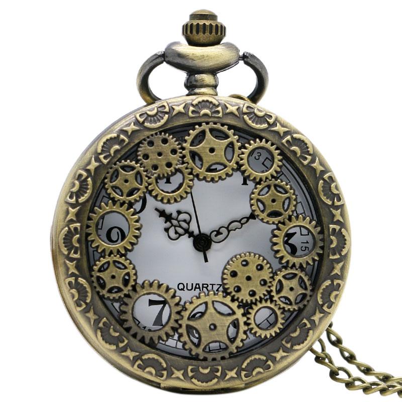 Vintage Bronze Hollow Gears Case Quartz Pocket Watch Men Women Necklace Pendant With Chain Clock Reloj De Bolsillo Gifts P382