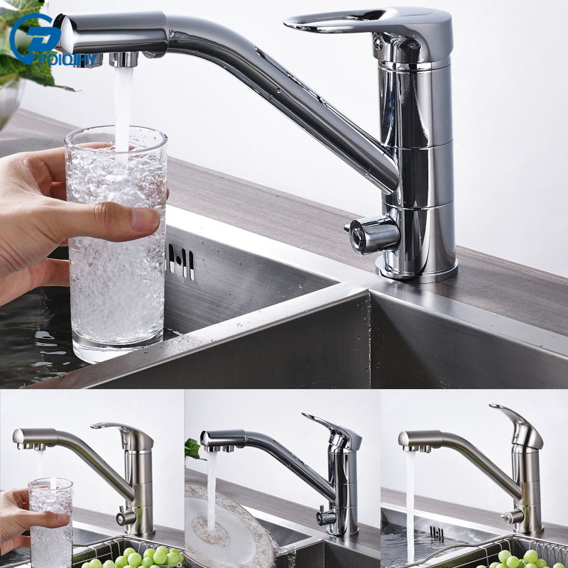 POIQIHY Solid Brass Deck Mounted Dual Handle Brushed Nickel Chrome Pure Water Faucet Kitchen Mixed Water Faucet Taps poiqihy chrome rain