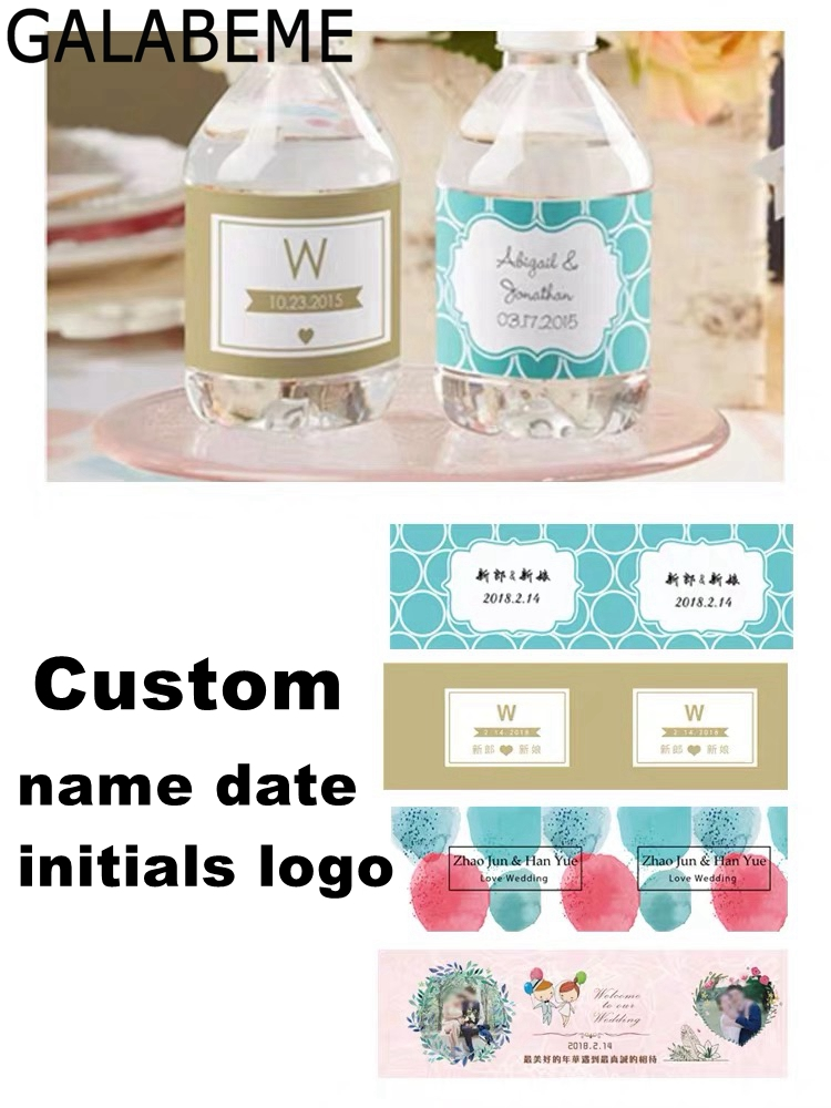 Personalized logo Water Bottle Label Sticker Wrappers Baby shower Anniversary Wedding Birthday Party Decorations Kids