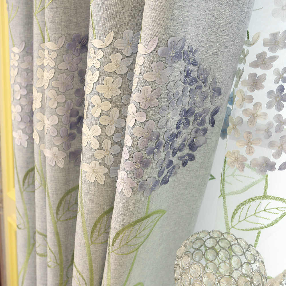 Factory Direct Sale 2019 New Bedroom Study Embroidered Curtains for Living Room Bedroom Fabric Custom Wholesale One Hair