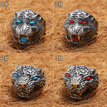 y Thai silver restoring ancient ways ring inlaid stone tiger ring single male aggressiveness