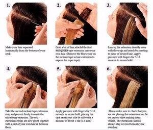 "Image 4 - Neitsi מיני קלטת שיער טבעי דבק הרחבות שאינו רמי ישר Weft עור Invisible טבעי שיער 12 ""16"" 20 ""בלונד צבע"