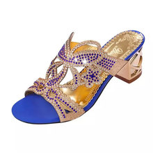 YeddaMavis Women Slippers Blue Rhinestones Slippers Women Shoes 2019 Summer Fashion PU Flip Flops Womens Shoes Woman Size 35 -41 lucyever women shoes flip flops 2018 new summer rhinestones high heel slip on women slipper black blue flip flops size 35 41