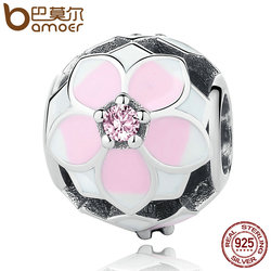 BAMOER 925 Sterling Silver Magnolia Bloom, Pale Cerise Enamel & Pink CZ Beads fit Bracelets DIY Jewelry PSC078