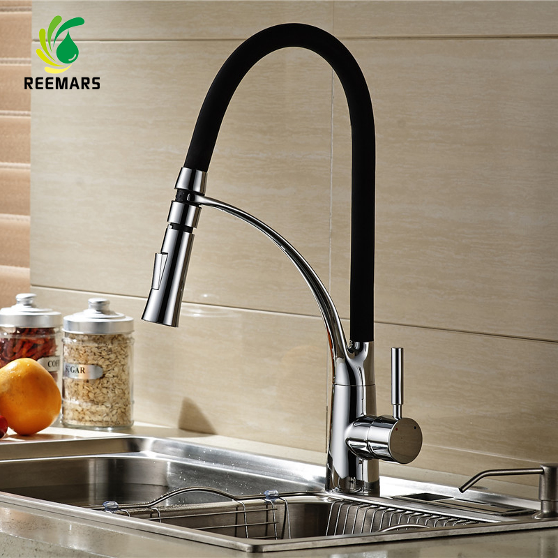 Genuine REEMARS 901 Kitchen Faucet Black Soild Brass Polished Chrome Swivel Pull Down Spout Kitchen Sink
