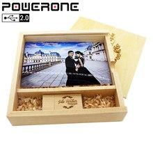 POWERONE Wooden Photo Album usb flash drive pendrive 4GB 8GB 16GB 32GB 64GB