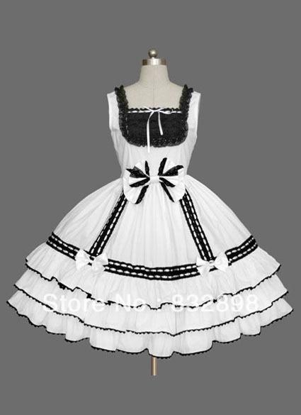 Robe Lolita douce en coton blanc et noir sans manches
