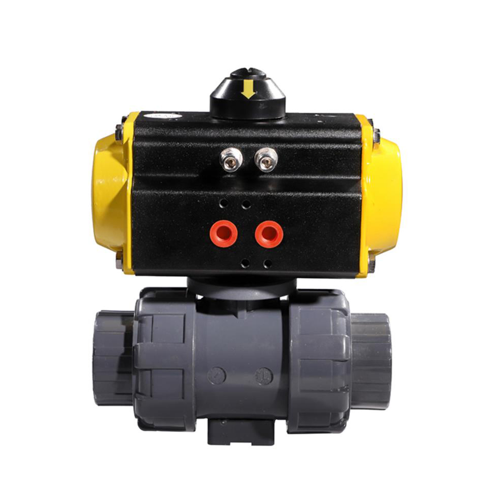 COVNA 1/2'' Double Union Pneumatic Two Ways Ball Valve DN15 PVC Pneumatic Ball Valve Spring Returned-in Valve from Home Improvement    2
