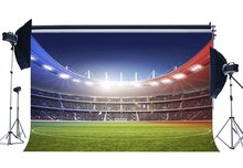 Football Field Backdrop Shining Stage Lights Crowd Green Grass Meadow Stadium Backdrops Sports  Background