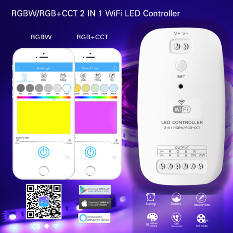 New LED Wifi Controller RGBW RGB+CCT 2 In 1 Smart Strip Light Controller Compatible With Alexa Assistant For An IOS System