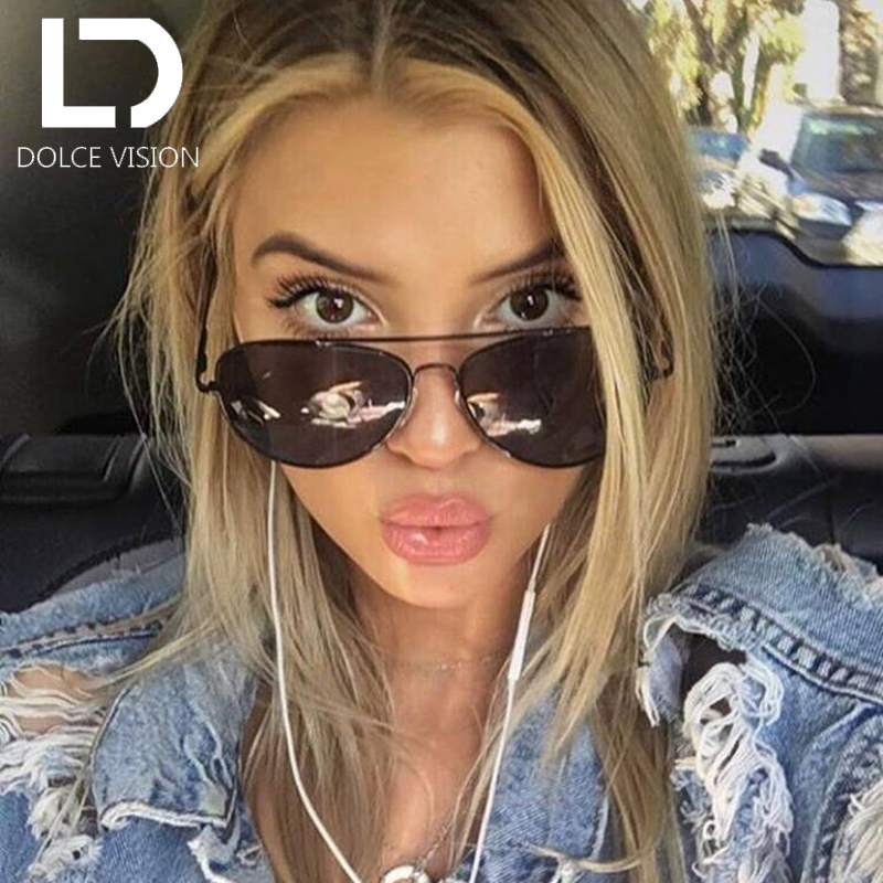 DOLCE VISION Classic Poalrized Sunglasses Women Mirror Pilot Fashion Brand Designer Shades Oculos Female Lunette UV400