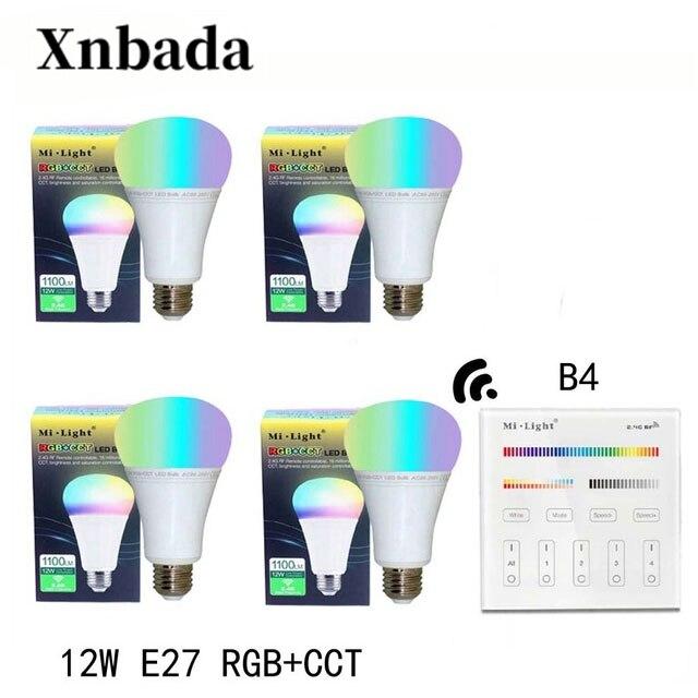 Mi lumière 12 W E27 RGB + CCT Led ampoule Dimmable AC85-265V lampe à Led B4 (3 V) panneau à distance MiLight Led projecteur lumière livraison gratuite