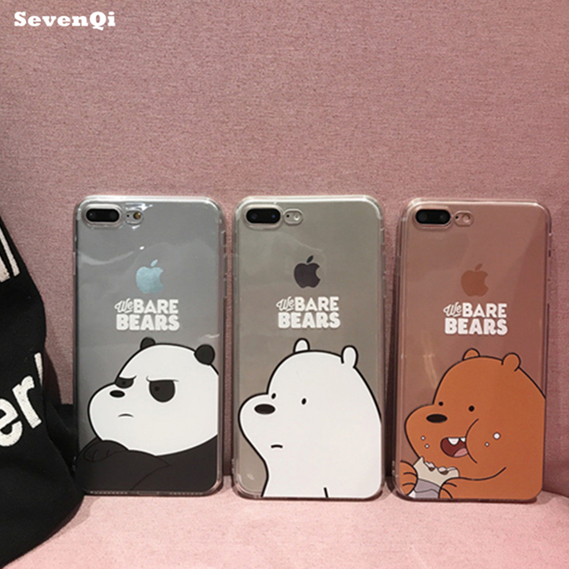SEVENQI new cartoon nude bear pattern 3D transparent mobile phone case for  IPHONE7 6S 6PLUS cases for iphone6 case tpu cases