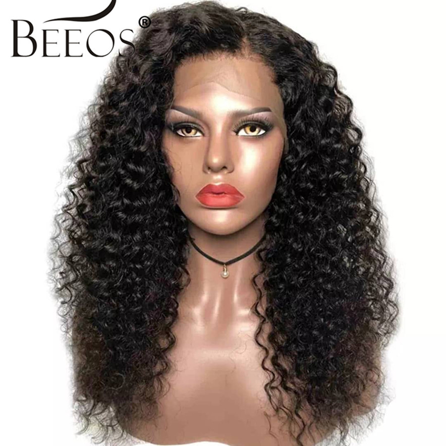13*6 Deep Part Pre Plucked Hairline Peruvian Lace Front Human Hair Wigs With Baby Hair Curly Remy Hair Bleached Knots