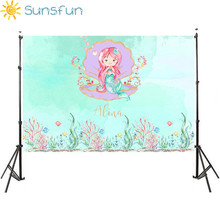 Sunsfun 7x5FT Mermaid Bed Caslte Corals Custom Photo Studio Backdrop