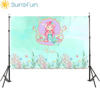Sunsfun 7x5FT Mermaid Under Sea Bed Caslte Corals Custom Photo Studio Backdrop