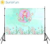 Sunsfun 7x5FT Mermaid Under Sea Bed Caslte Corals Custom Photo Studio Backdrop