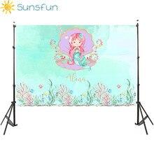 Sunsfun 7x5ft sereia cama caslte corais personalizado photo studio pano de fundo