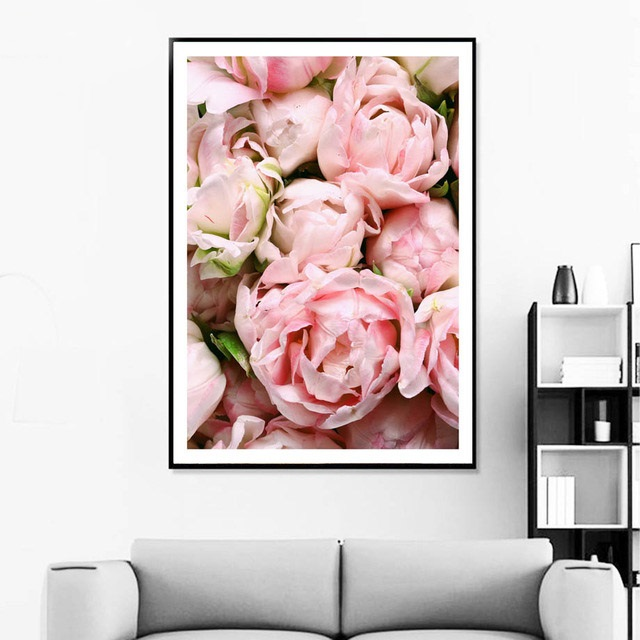 Flower Posters And Prints Pink Rose Scenery Canvas Painting Nordic Wall Art Pictures For Living Room Home Decor Unframed in Painting Calligraphy from Home Garden
