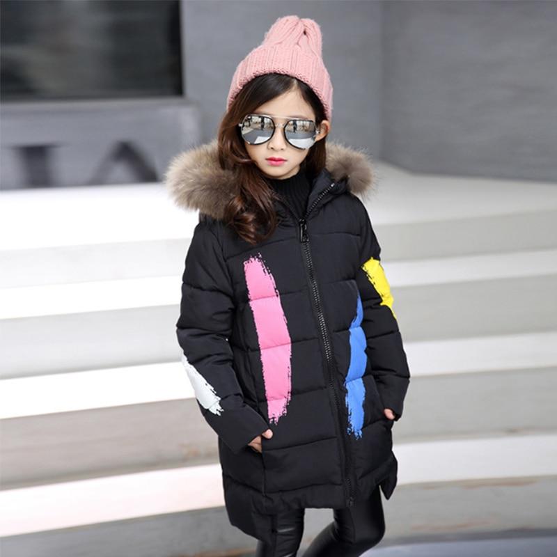 2018 Fashion girls winter down jacket children's thicken long park snowsuit winter overalls for girls korean kids clothes D10