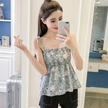 Fashion Floral Print Camisole Top Women Sexy Off Shoulder Strap Tops Vest Camis Female Casual Sleeveless Bandage Chiffon Tops navy random floral print camis