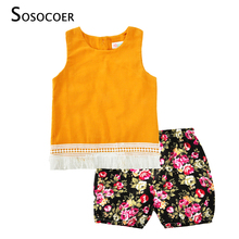 SOSOCOER Girl Clothing Set Summer 2017 New Yellow Tassel Top+Floral Short Pants 2pcs Flower Kids Baby Girl Clothes Outfits Sets