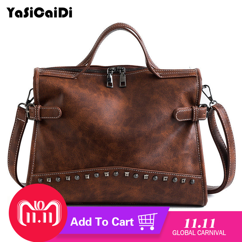 YASICAIDI Brand Women Handbag High Quality PU leather Casual Tote Bag Boston Shoulder Messenger Bags Rivet Design Women Bag 2018 new brand women handbag design solid boston bag pu leather casual tote bag female high quality women s shoulder messenger bags