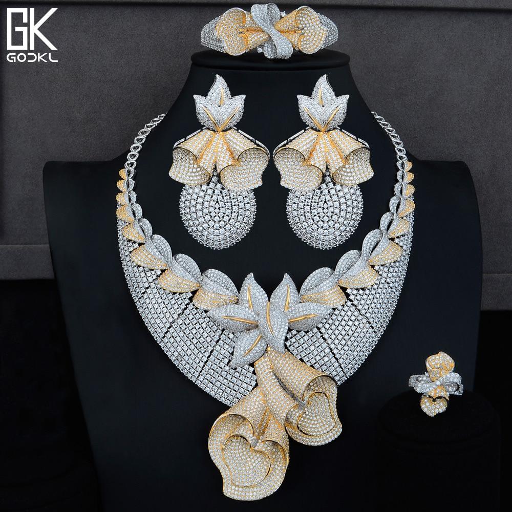 GODKI Pineapple Flower 4PC Nigerian Bridal Jewelry Set Cubic Zirconia Crystal CZ Dubai Indian Gold Jewelry Set