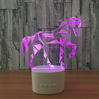 LED Horse Acrylic 3D Night Lights Bluetooth Speaker Music Lamp 5 Color Change Table Lamp party Atmosphere USB 3D Desk lamp