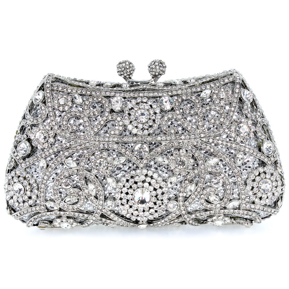 2016 Crystal Flower Silver Color Metal Evening Wedding Bridal Party Night Purse Clutch Bag Women Handbag FREE SHIPMENT