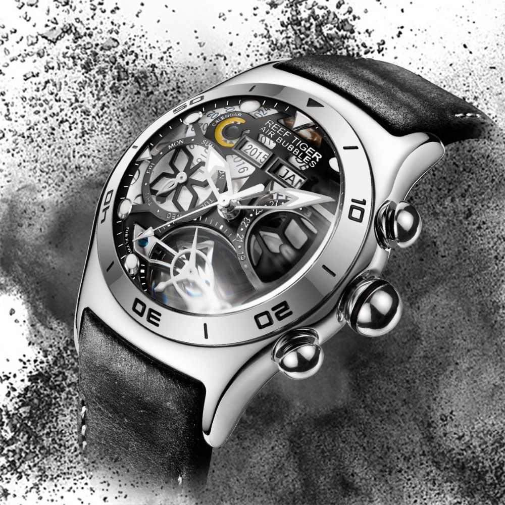 Reef Tigre/RT di Sport del Mens Orologi Orologio Automatico di Scheletro In Acciaio Impermeabile Tourbillon Orologio con Data Giorno reloj hombre RGA703