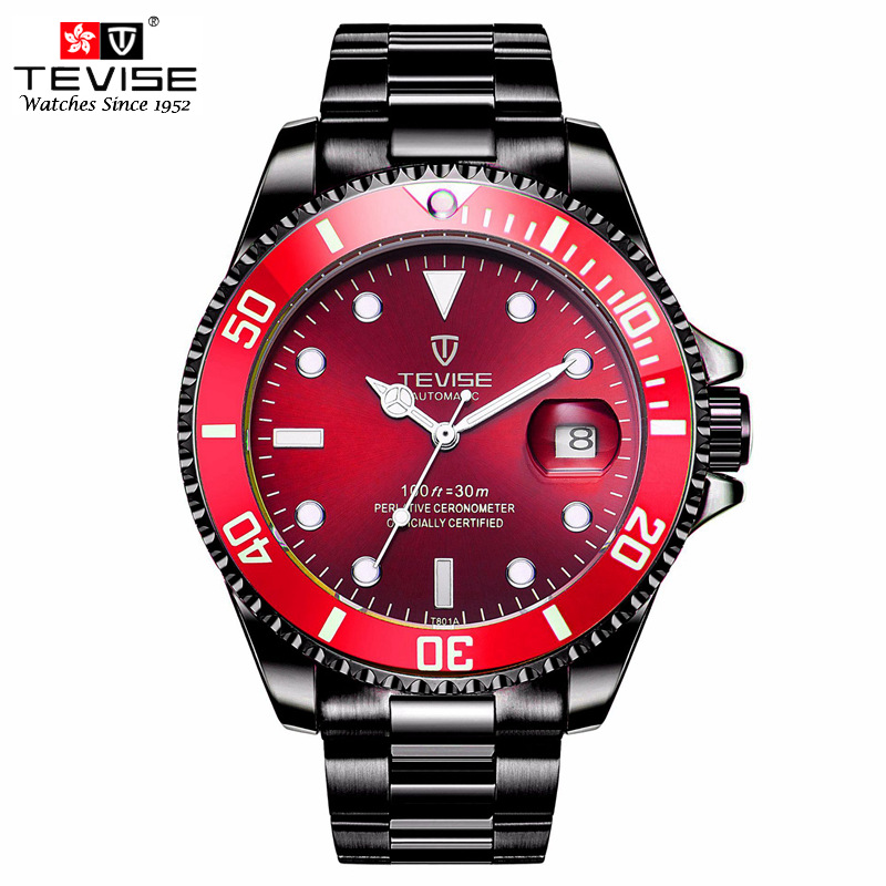 TEVISE Automatic Self-Wind Watches Auto Date Black Stainless Steel Business Black Watch Men Mechanical Clock Wristwatch Relogio tevise fashion casual men automatic watch silver stainless steel auto date mechanical self wind original brand wristwatch 8377g