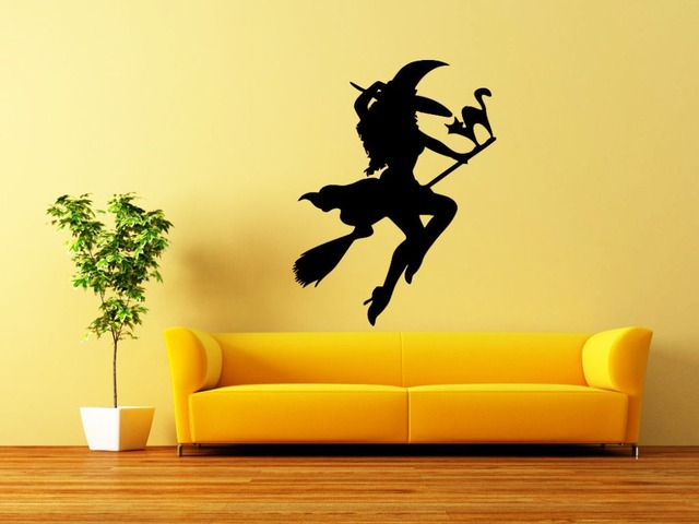 Wall Decals Halloween Witch Decal Vinyl Sticker Kitchen Home Art ...