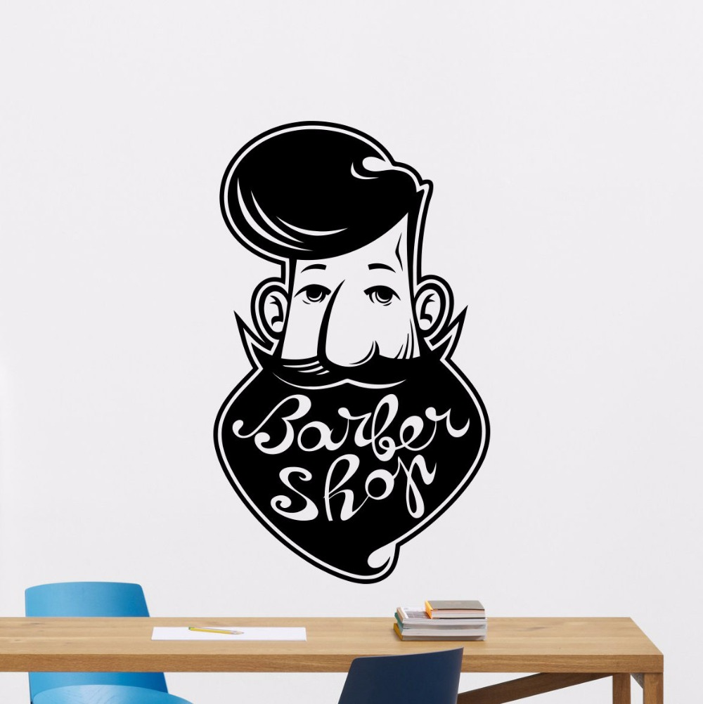 Barber shop vinyl wall decal sticker man decal beauty barber shop mural wall sticker hair shop wall decoration