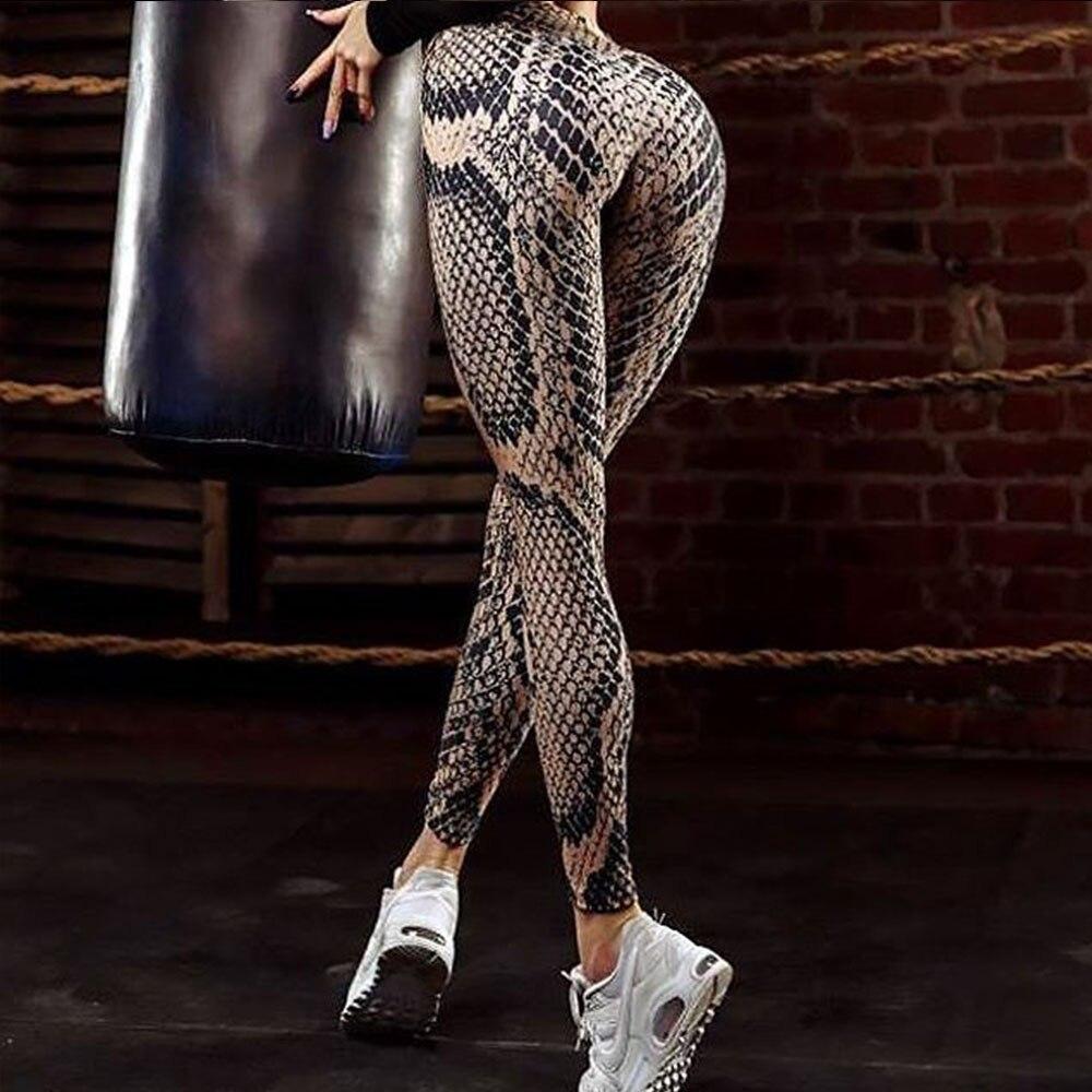 Qualità Snake Stampa Donne Sexy Leggings di Fitness Push Up A Vita Alta di Allenamento Legging Leggins Abbigliamento Sportivo