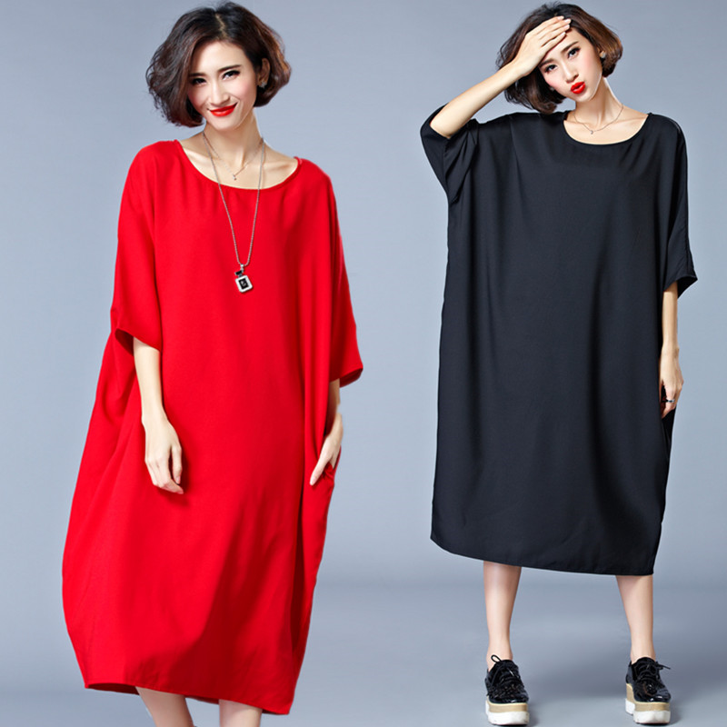 Plus Size 5XL 6XL 2018 Spring Autumn European Elegant Fashion Women Ladies Female  Big Oversized Long T Shirt Tops Dress Vestidos 301f5c3c3063