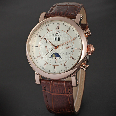 Forsining Mens Automatic Mechanical Moonphase Function Leather Strap Wrist Watches Rose Gold Case Relogio Masculino Montre Male купить недорого в Москве