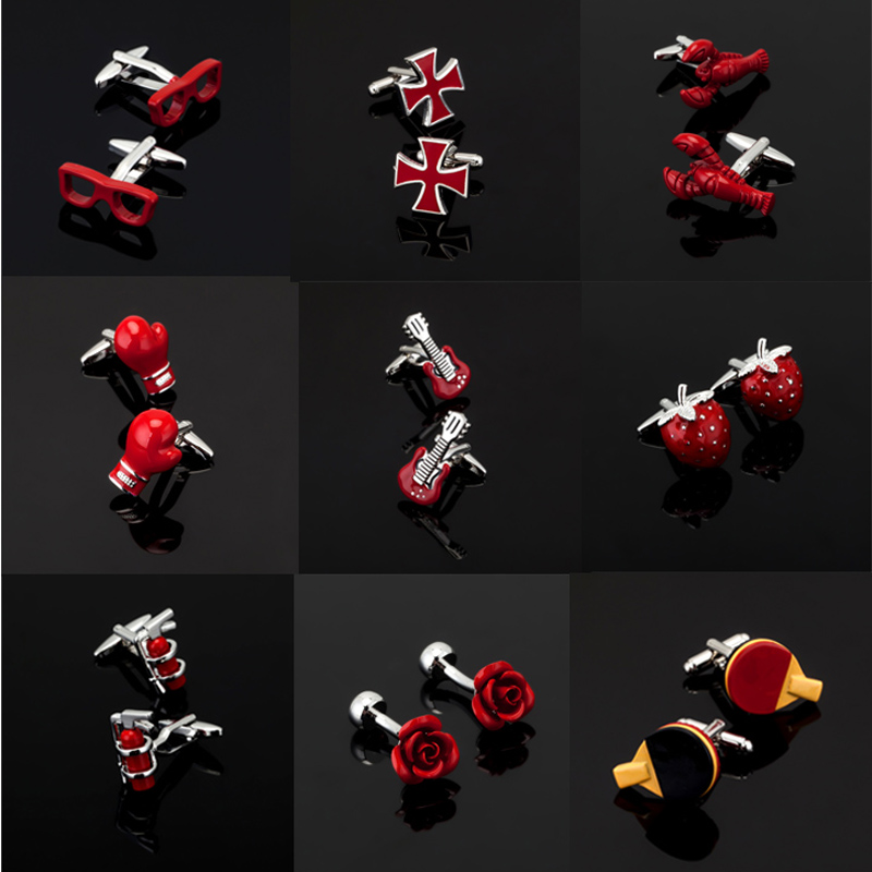 High quality men's series of other red Cufflinks / glasses / coke bottle / Cross / music symbols / extinguisher Cufflinks dictionary of symbols