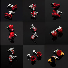 High quality men's series of other red Cufflinks / glasses / coke bottle / Cross / music symbols / extinguisher Cufflinks(China)