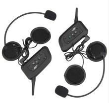 (2set/lot) 6 Riders Brand V6 Sport Helmet Intercom 1200M Motorcycle Bluetooth Intercom Headset walkie talkie Helmet Capacete