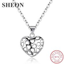 SHEON Heart Necklace 925 Sterling Silver Simple Hollow Heart Shape Necklaces & Pendants Sterling Silver Jewelry For Lover Gift цена и фото