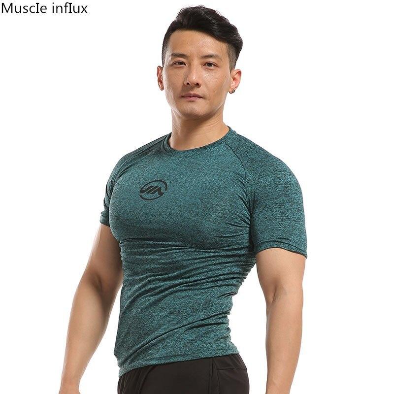 Men Summer Male Short Sleeve Musle Print Tops T-Shirt Fitness GYM Tee Running