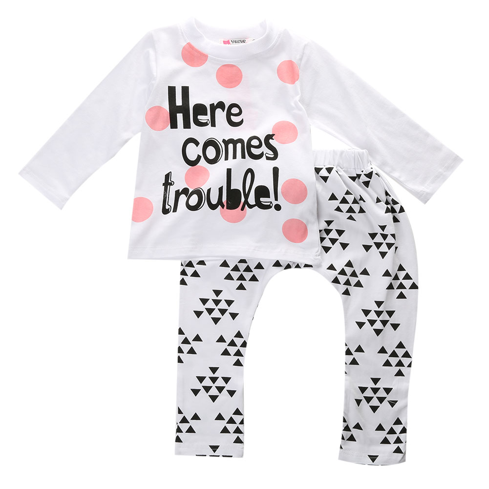 Toddler Kids Baby Boys Girls Outfits 2pcs Set Long Sleeves T-shirt Tops+Pants Cute Cotton Clothes Set 6M-4T