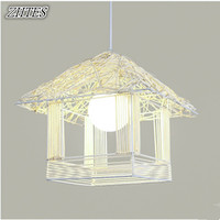 Simple Bird Cage Chandelier Personality Creative Art Rattan Balcony Corridor Restaurant Single Head Chandeliers