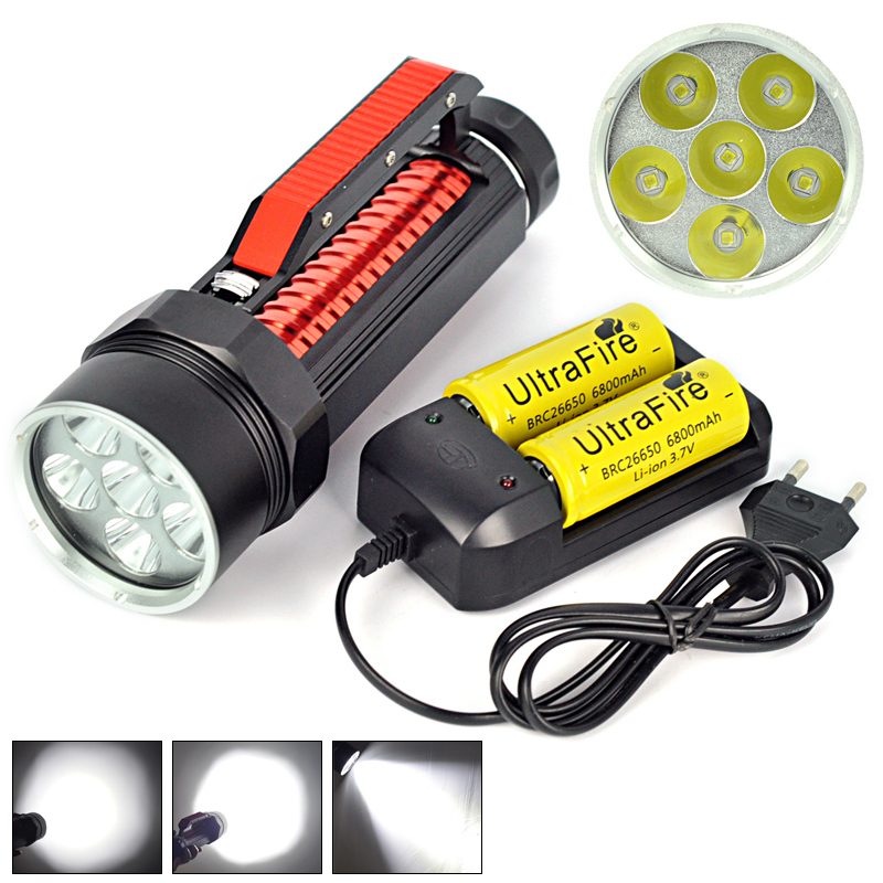Hot 10000 Lumen XM-L L2 LED Scuba Diving Flashlight 200m Waterproof Diver Torch Light 26650 Lanterna with Battery + Charger hot 10000 lumen 6x xm l l2 led scuba diving flashlight 200m waterproof diver torch light 26650 lanterna with battery charger